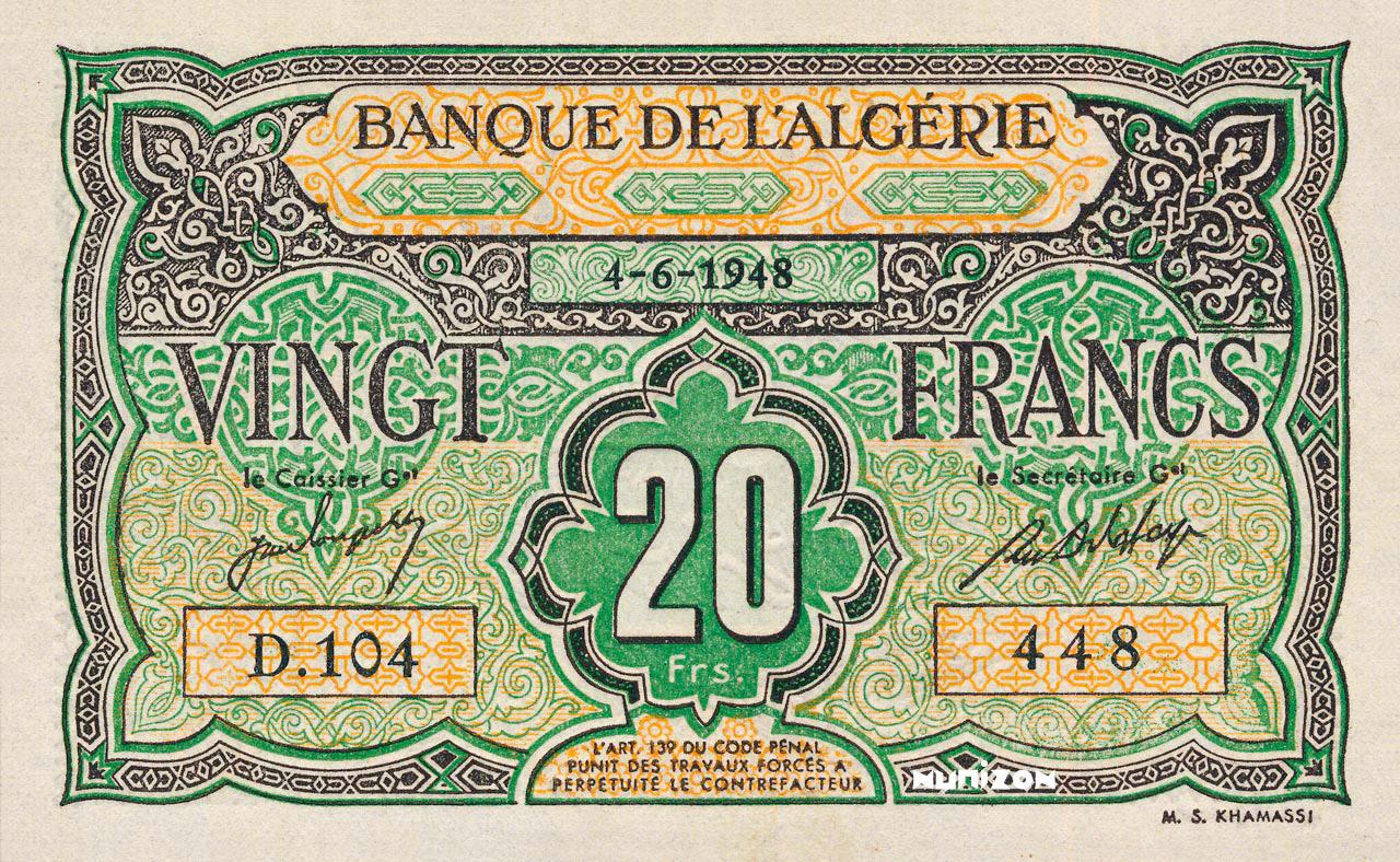 RECTO 20 francs Type 1946