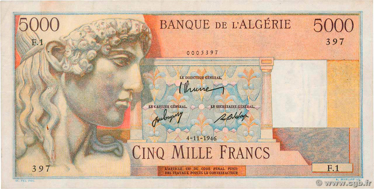 RECTO 5000 francs Apollon Type 1946