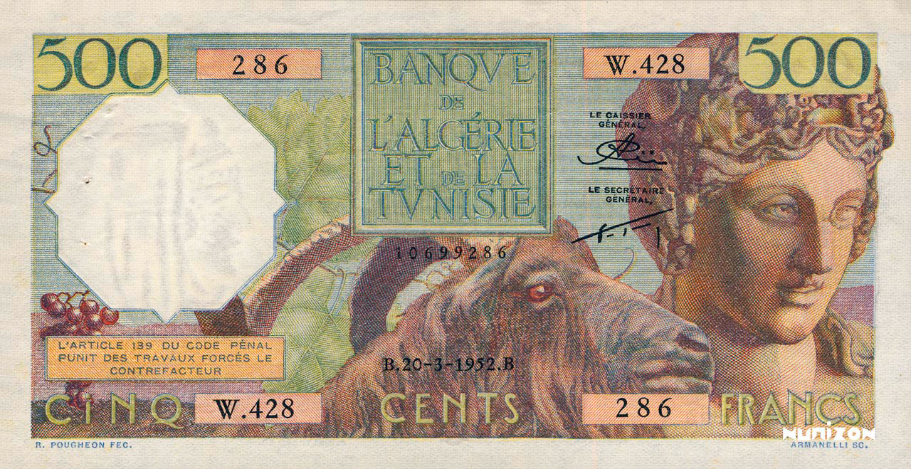 RECTO 500 francs Bacchus Type 1950