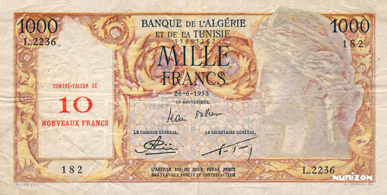 RECTO 10 NF/1000 francs Isis Type 1959