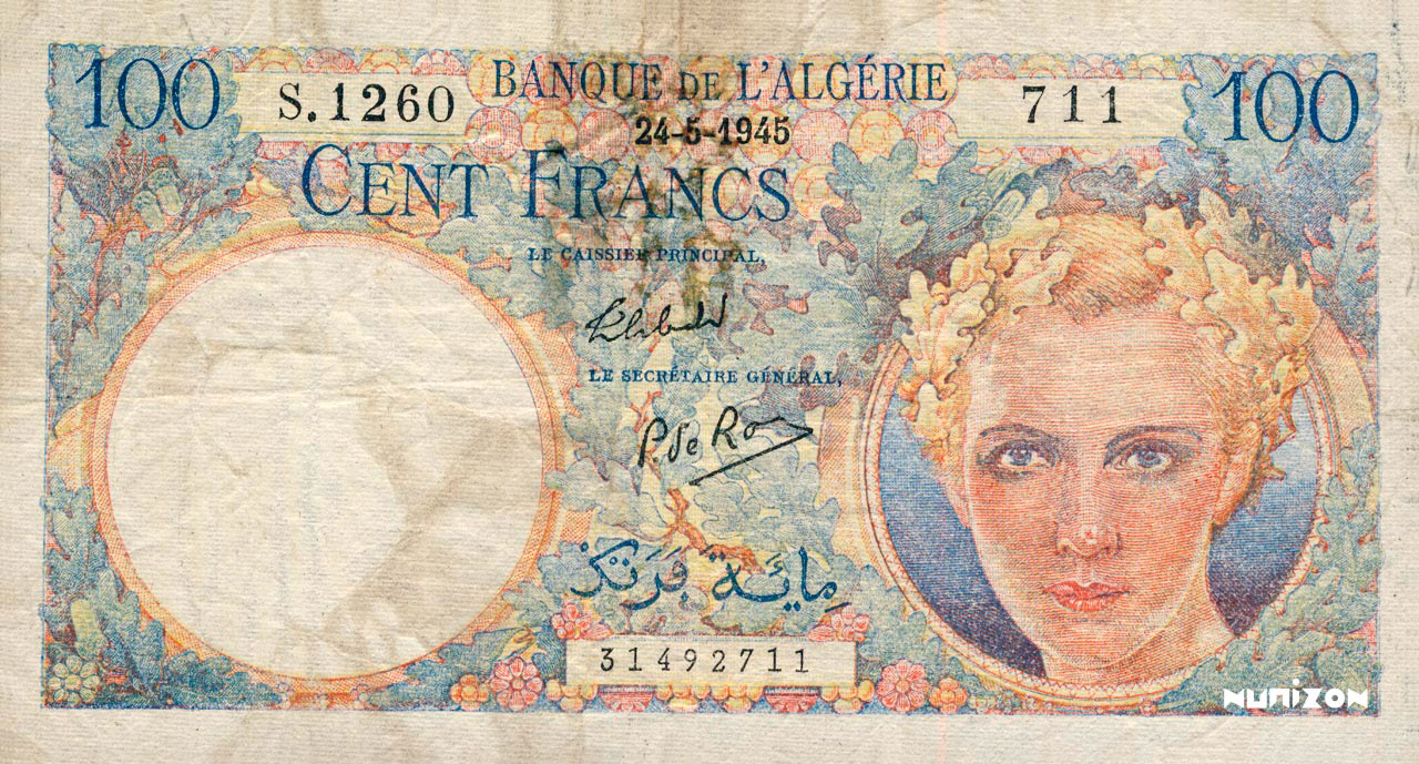 RECTO 100 francs Starfel Type 1945