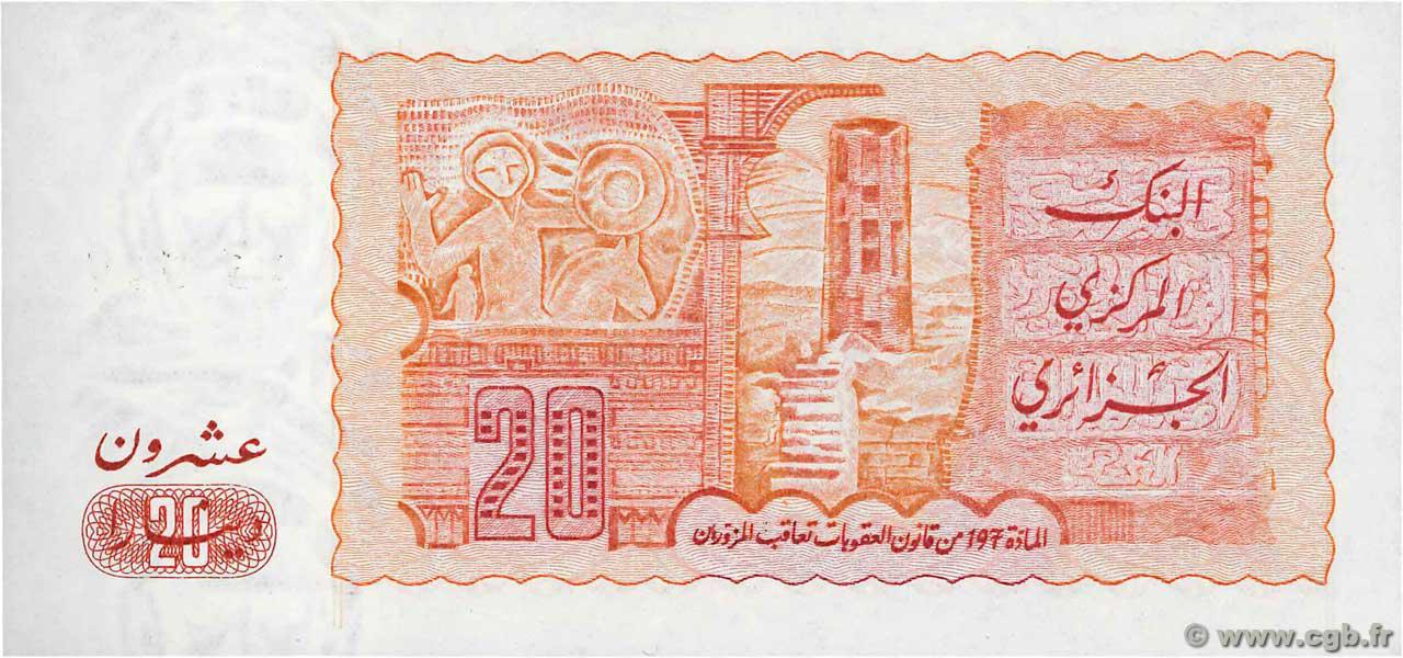 VERSO 20 dinars Type 1983