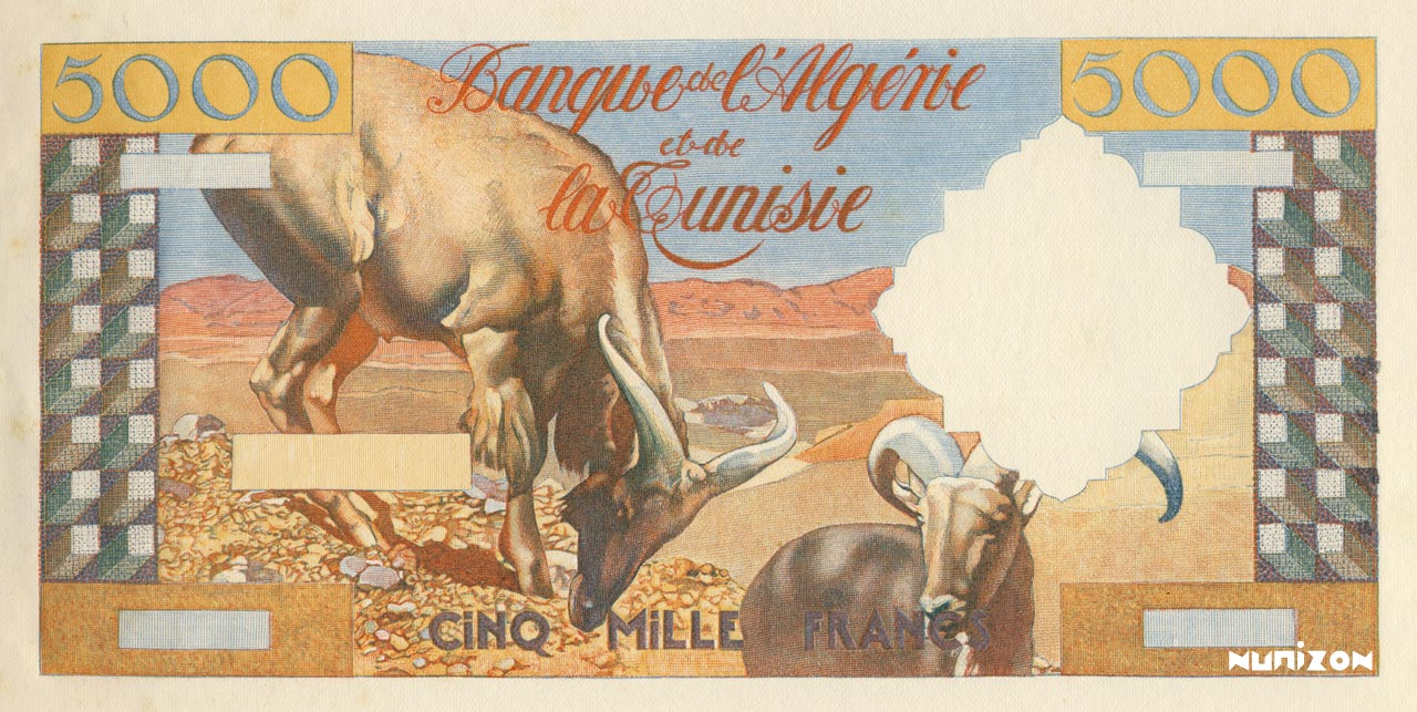 RECTO 5000 francs Poughéon Type 1956 essai