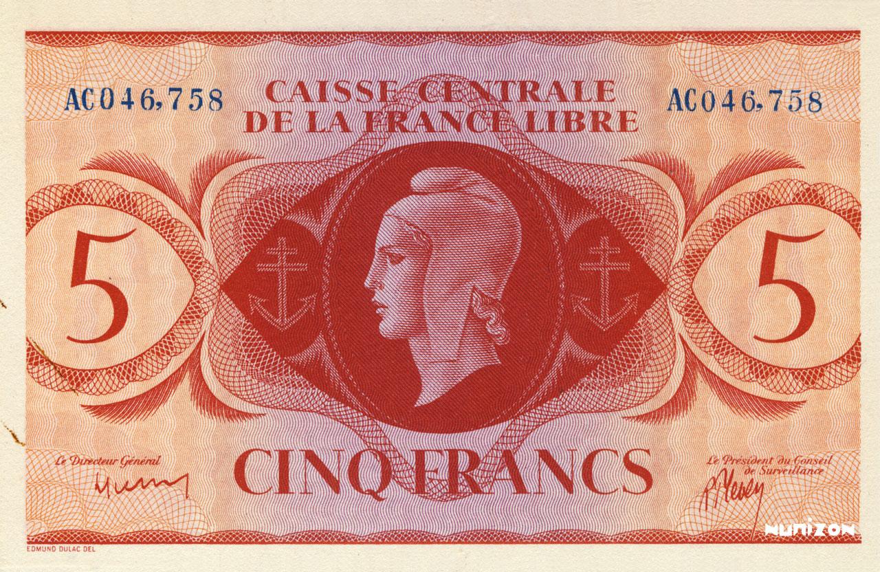 RECTO 5 francs Type 1941 CCFL