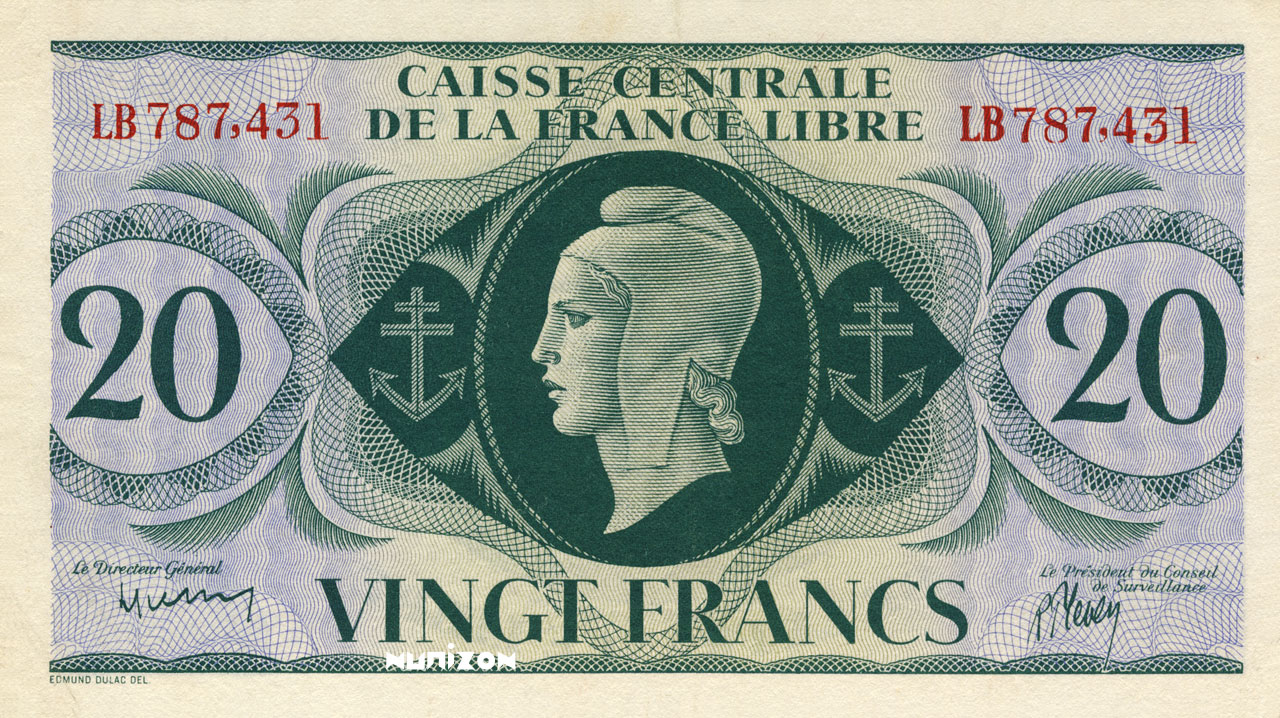 RECTO 20 francs Type 1941 CCFL