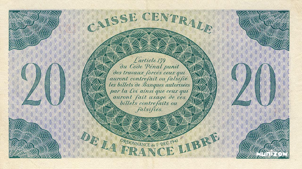 VERSO 20 francs Type 1941 CCFL