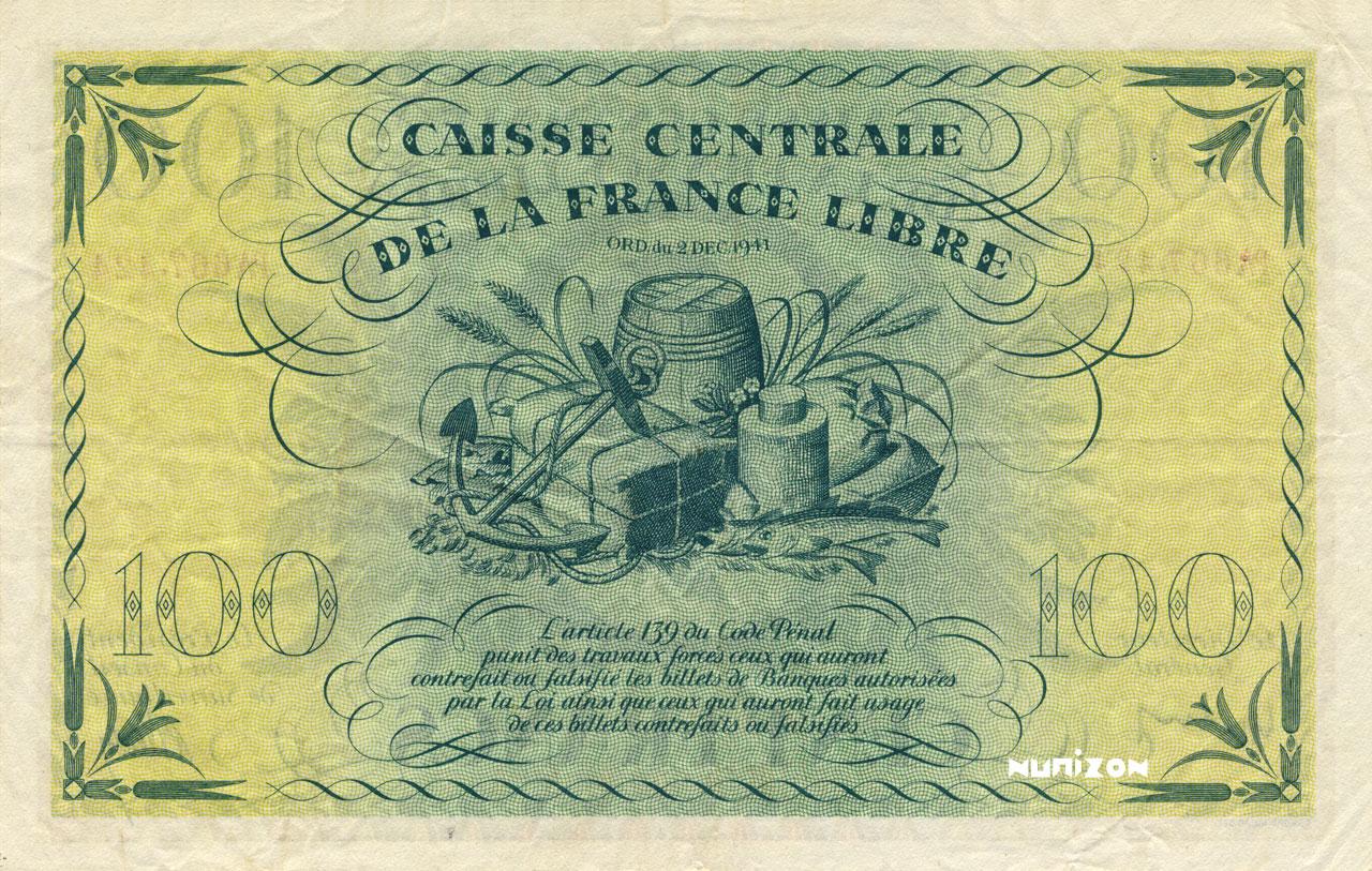 VERSO 100 francs Type 1941 CCFL