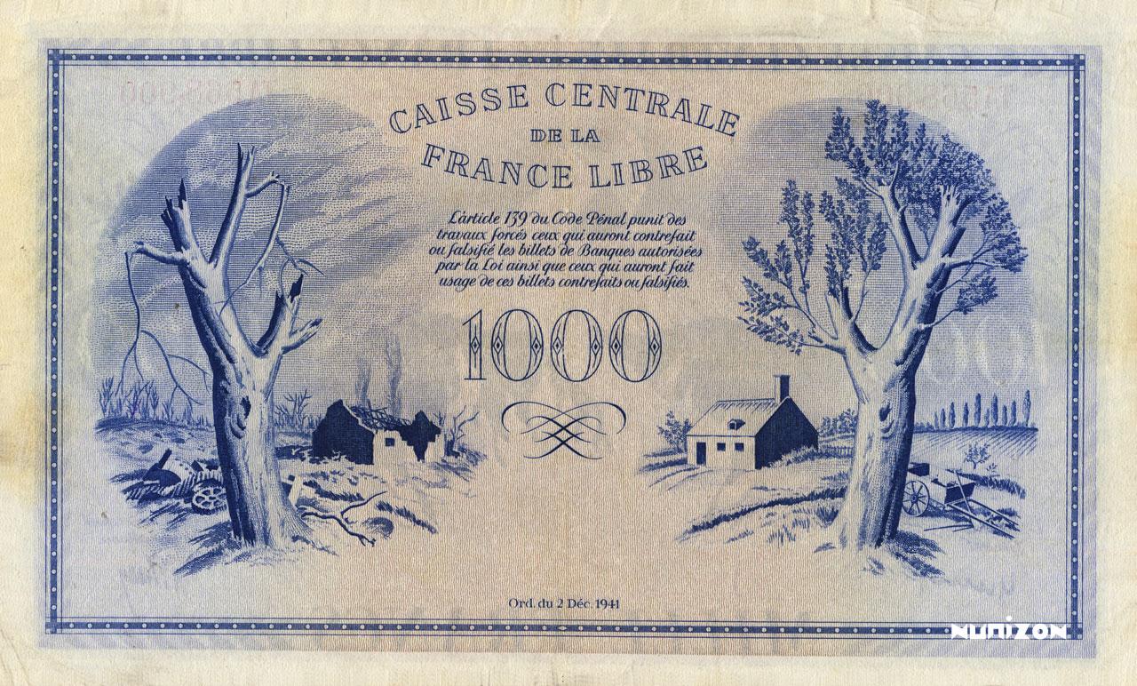 VERSO 1000 francs Phoenix Type 1941 CCFL