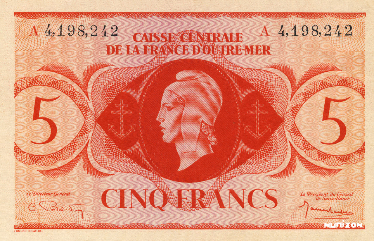 RECTO 5 francs Type 1943 CCFOM