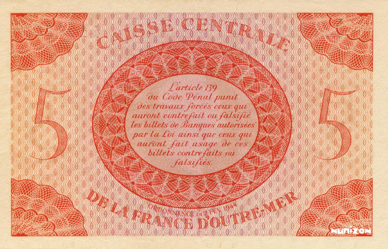 VERSO 5 francs Type 1943 CCFOM