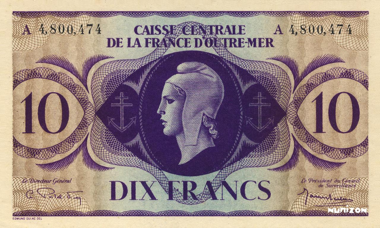 RECTO 10 francs Type 1943 CCFOM