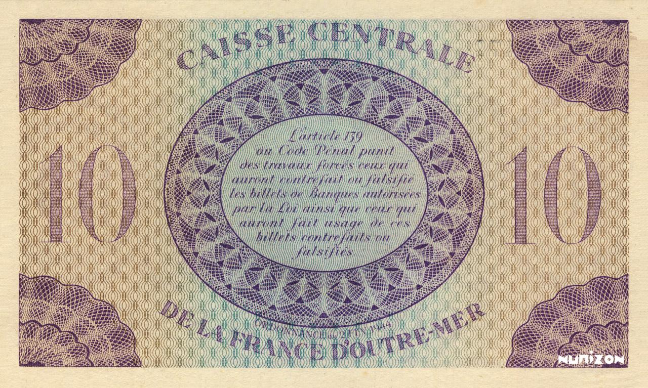 VERSO 10 francs Type 1943 CCFOM