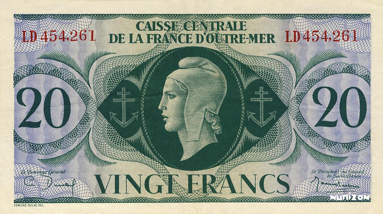 RECTO 20 francs Type 1943 CCFOM