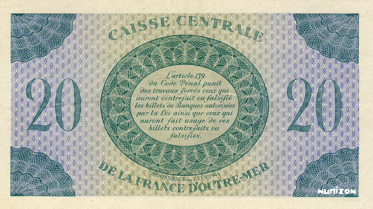 VERSO 20 francs Type 1943 CCFOM
