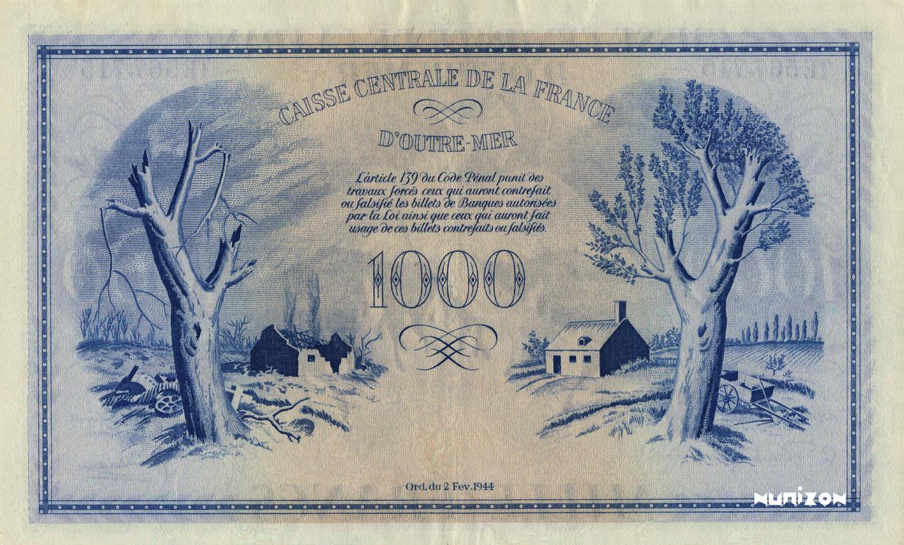 VERSO 1000 francs Type 1943 CCFOM