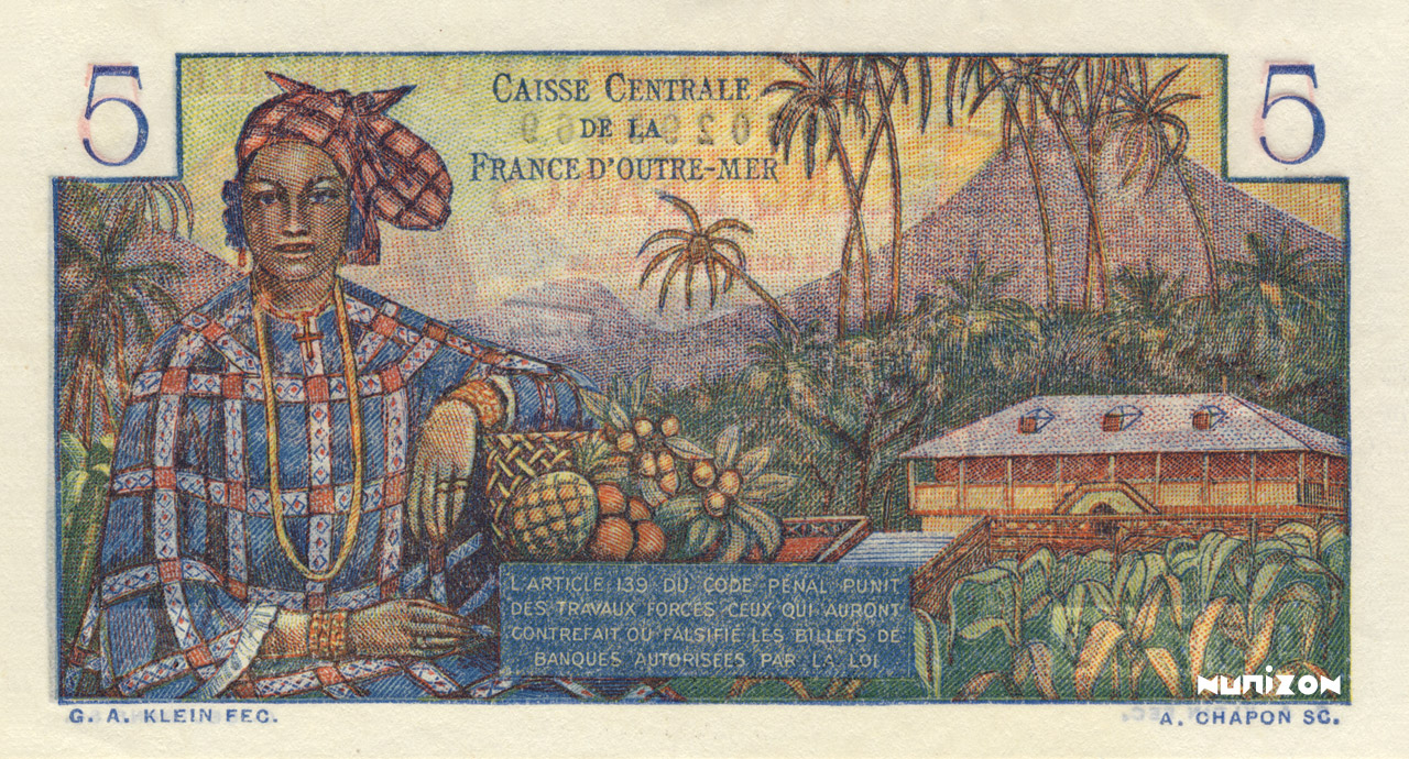 VERSO 5 francs Bougainville Type 1947
