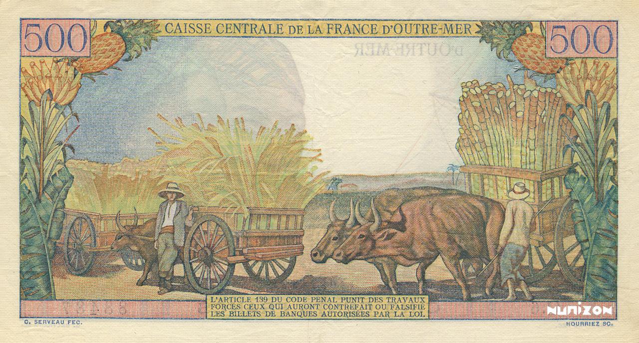 VERSO 500 francs Pointe à Pitre Type 1949