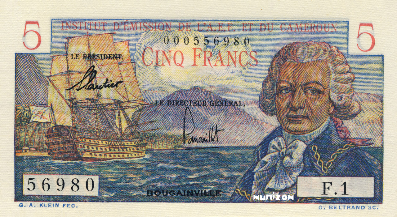 RECTO 5 francs Bougainville Type 1957