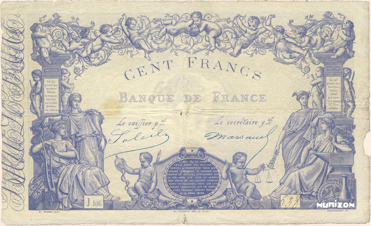 100 francs - Type 1862 - Bleu Pick##52a