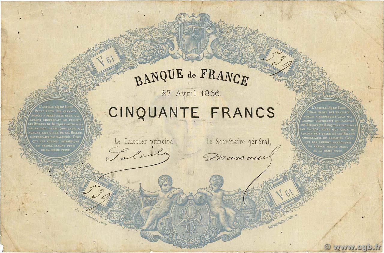 50 francs - Type 1864 -  Bleu Pick##50