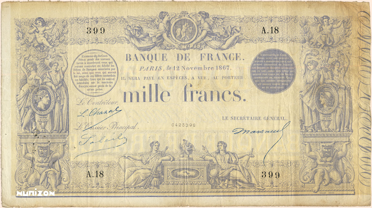 1 000 francs - Type 1862 - Indices Noirs Pick##54