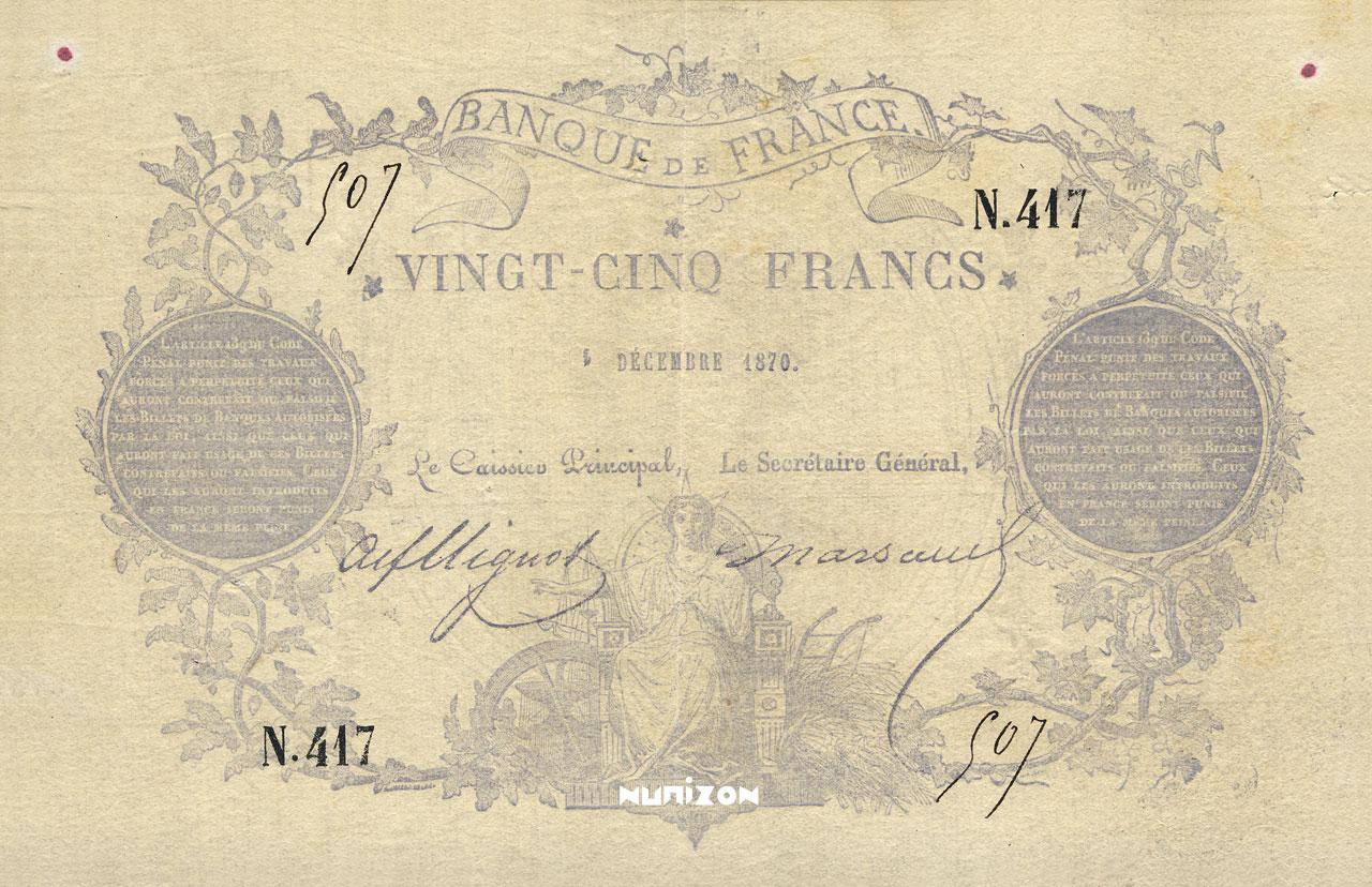 25 francs - Type 1870 - Chazal Pick##56