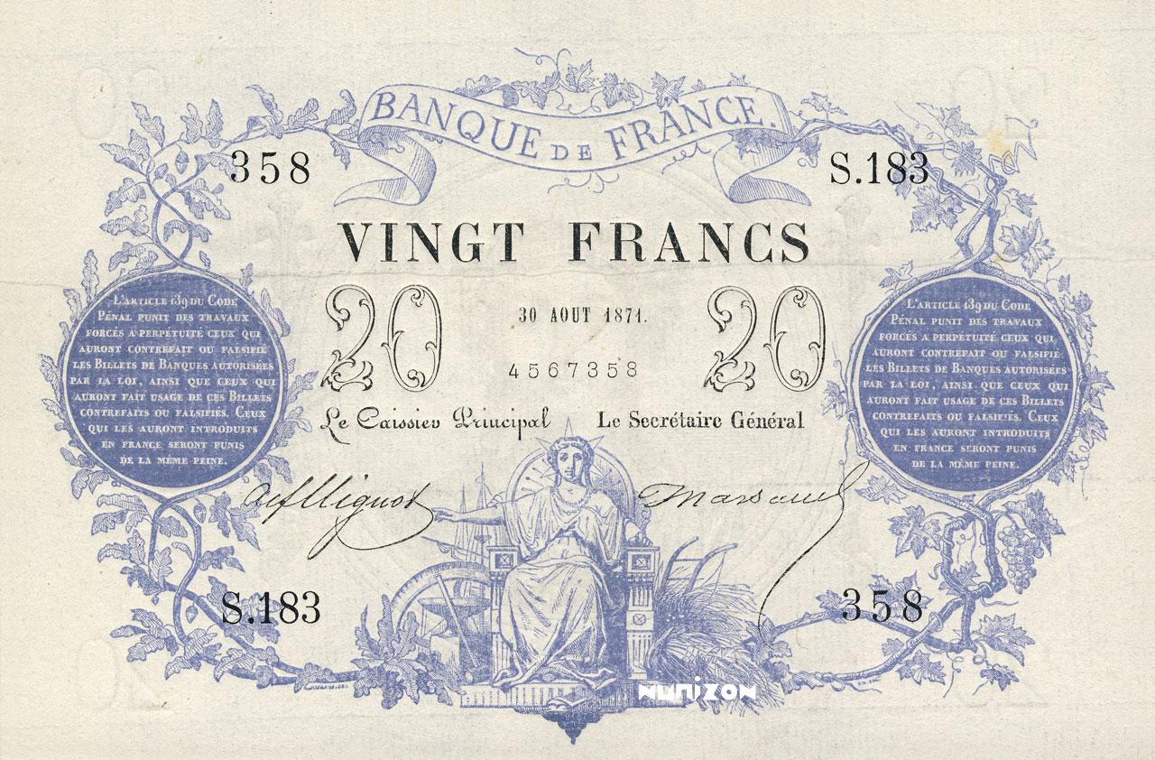 20 francs - Type 1871 - Chazal Pick##55