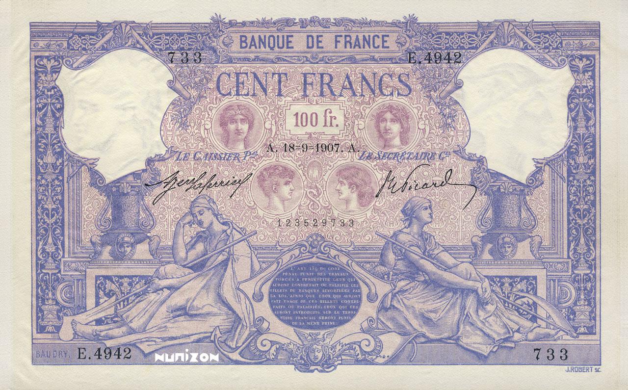 100 francs - Type 1889 - Bleu et Rose Pick##65