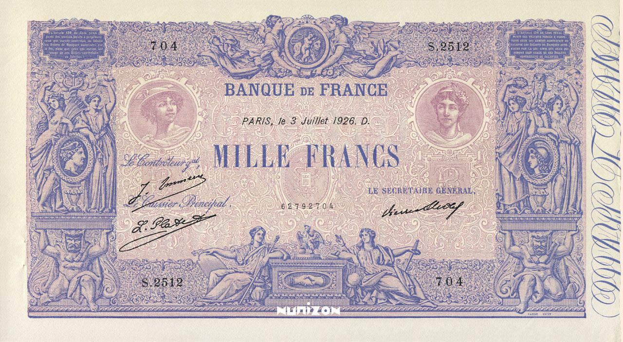1 000 F - Type 1889 - Bleu et Rose Pick##67