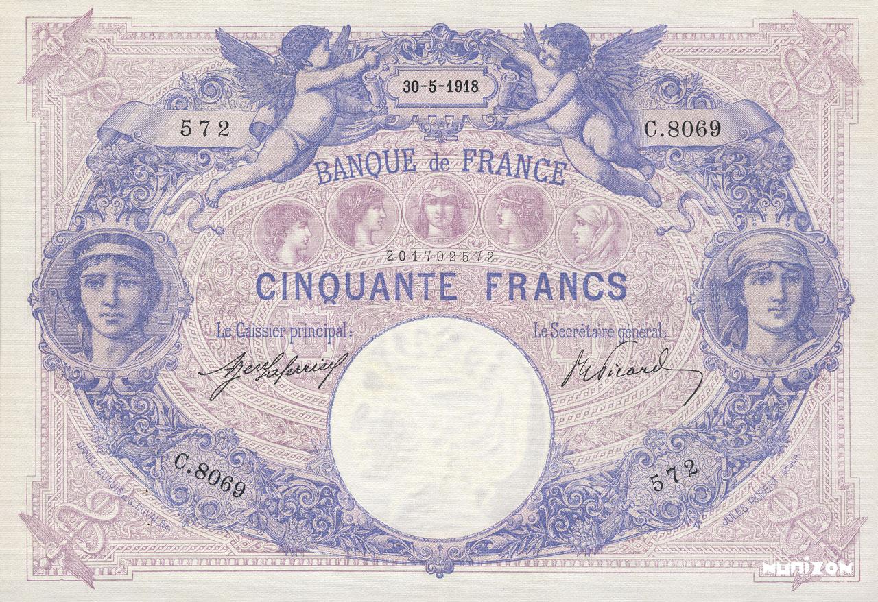 50 francs - Type 1889 - Bleu et Rose Pick##64
