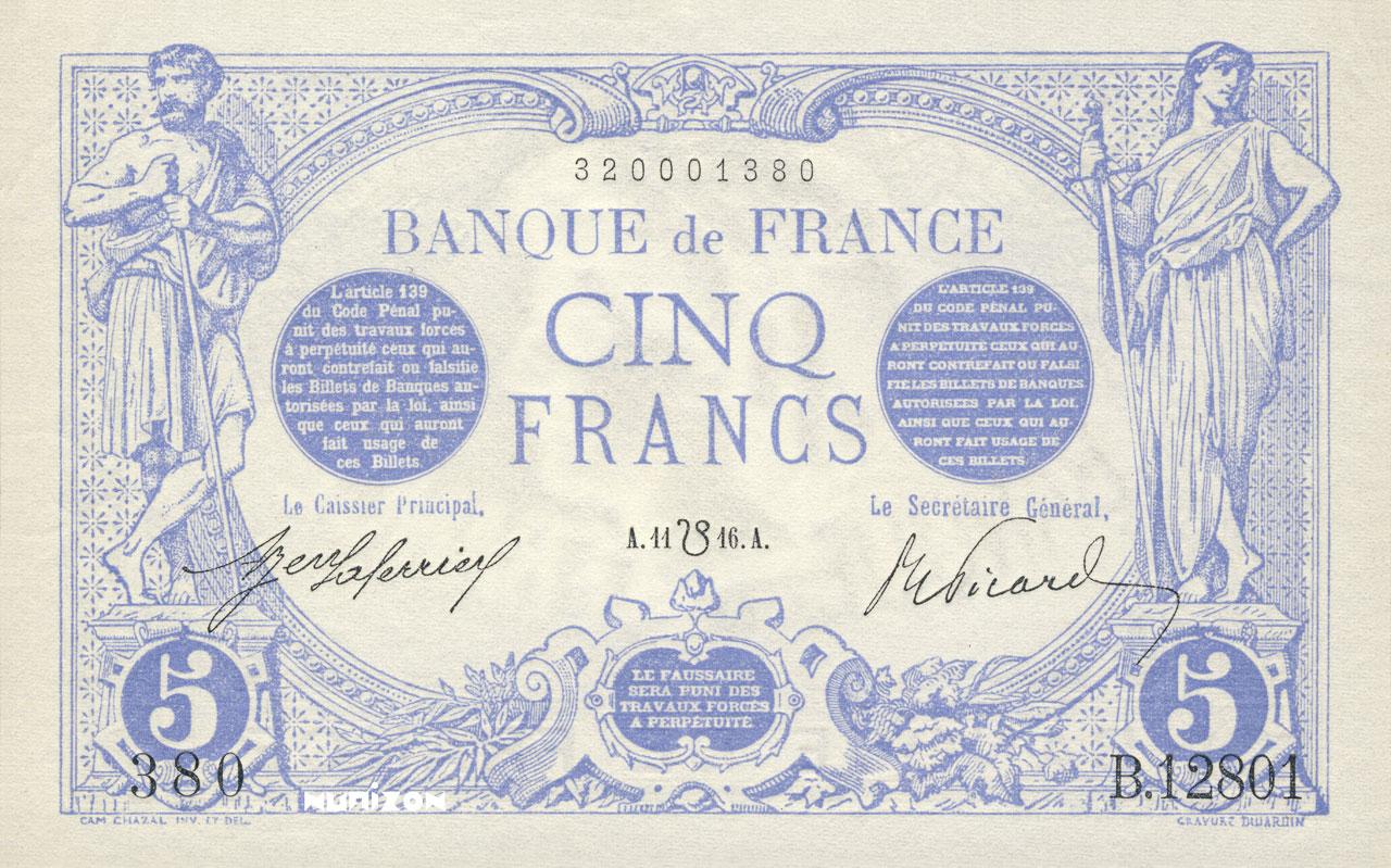 5 francs - Bleu Pick##70