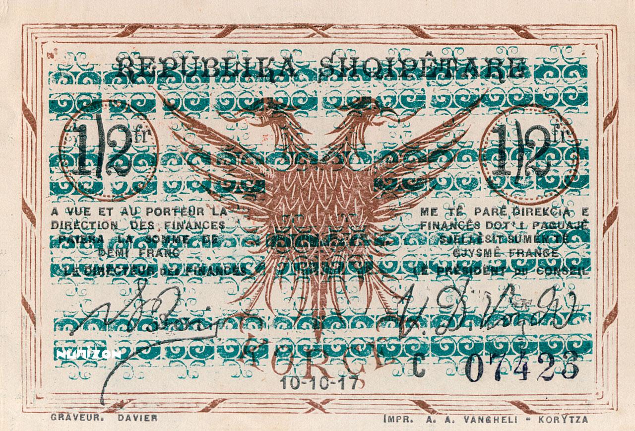 1/2 franc Korçë 1917 Pick##141/143/145