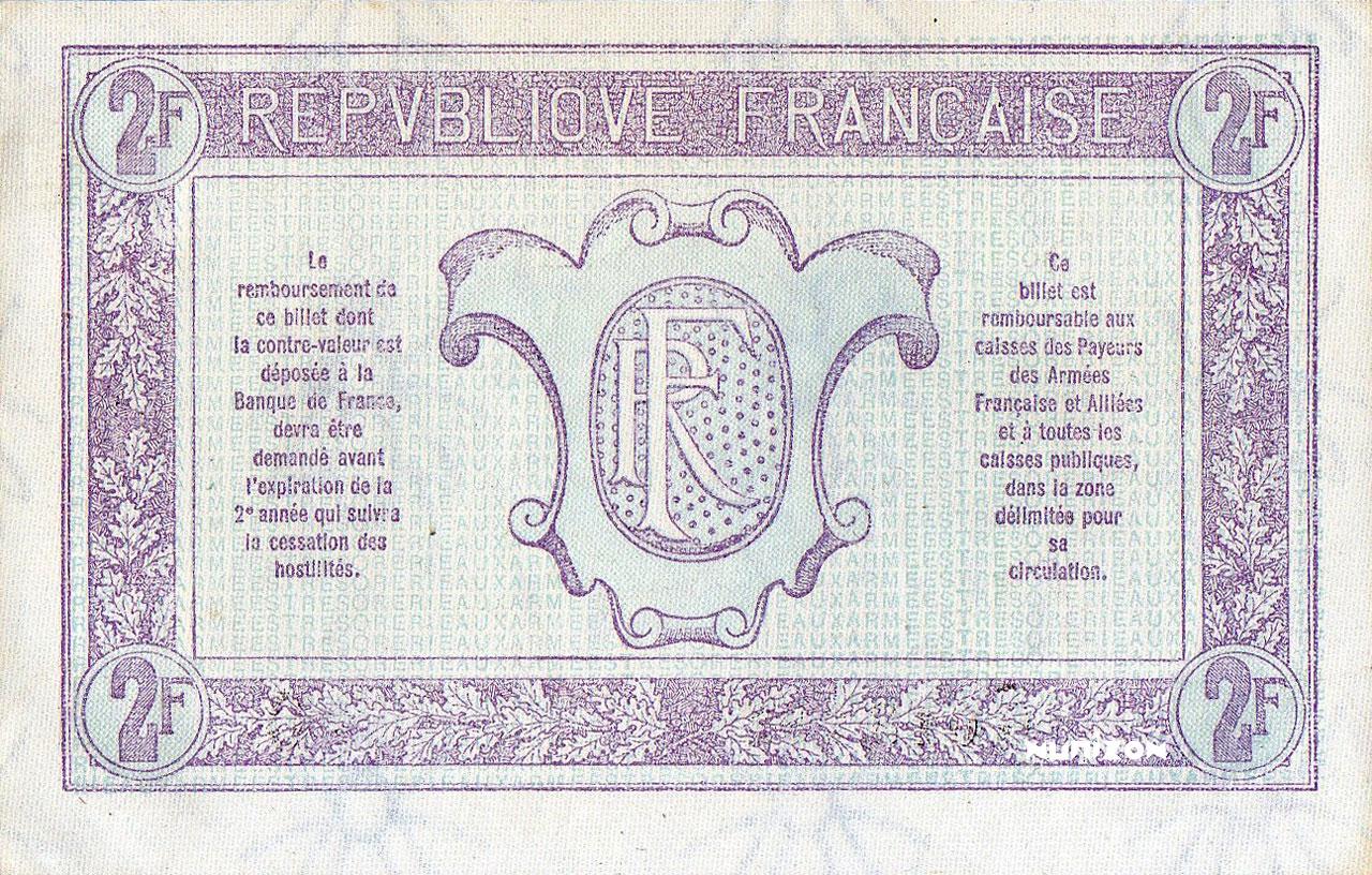 VERSO 2 francs Trésorerie aux armées Type 1917