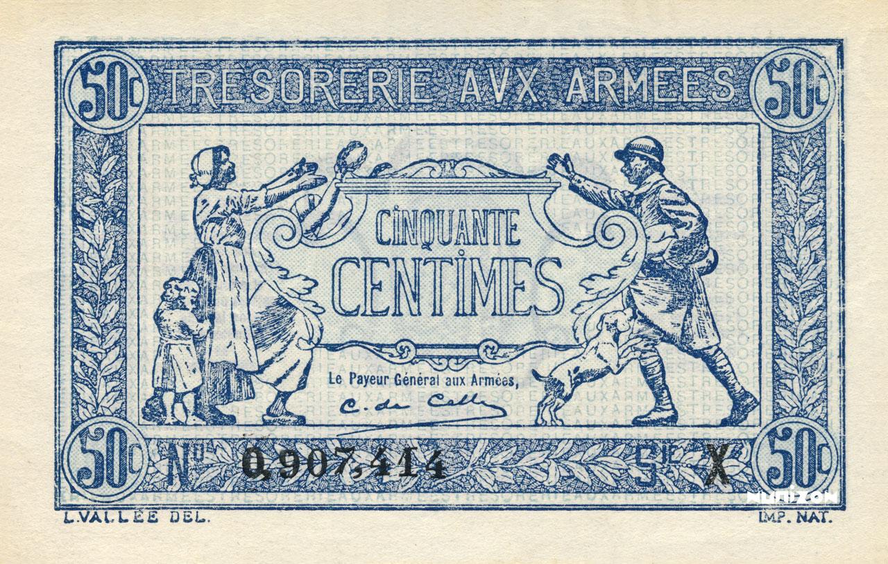 RECTO 50 centimes Trésorerie aux armées Type 1917-1919