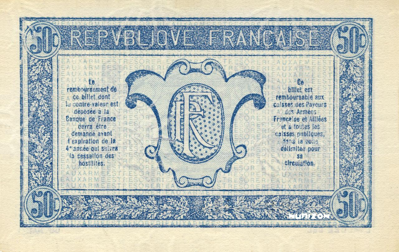 VERSO 50 centimes Trésorerie aux armées Type 1917-1919