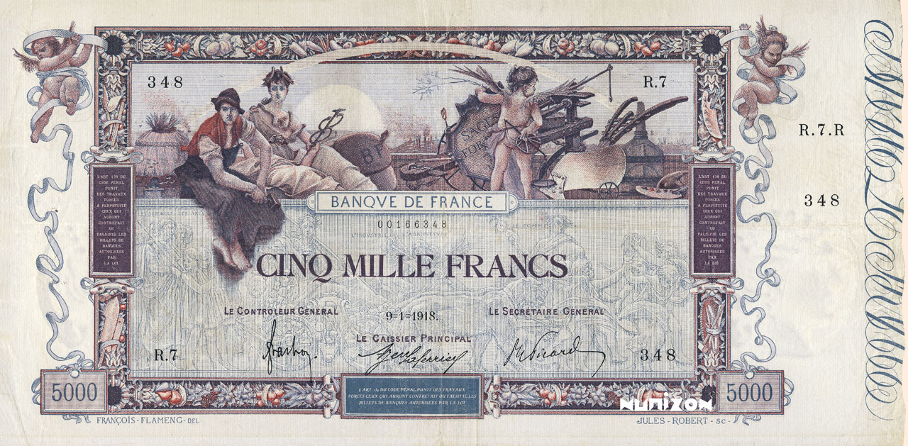 RECTO 5000 francs Type 1918 Flameng