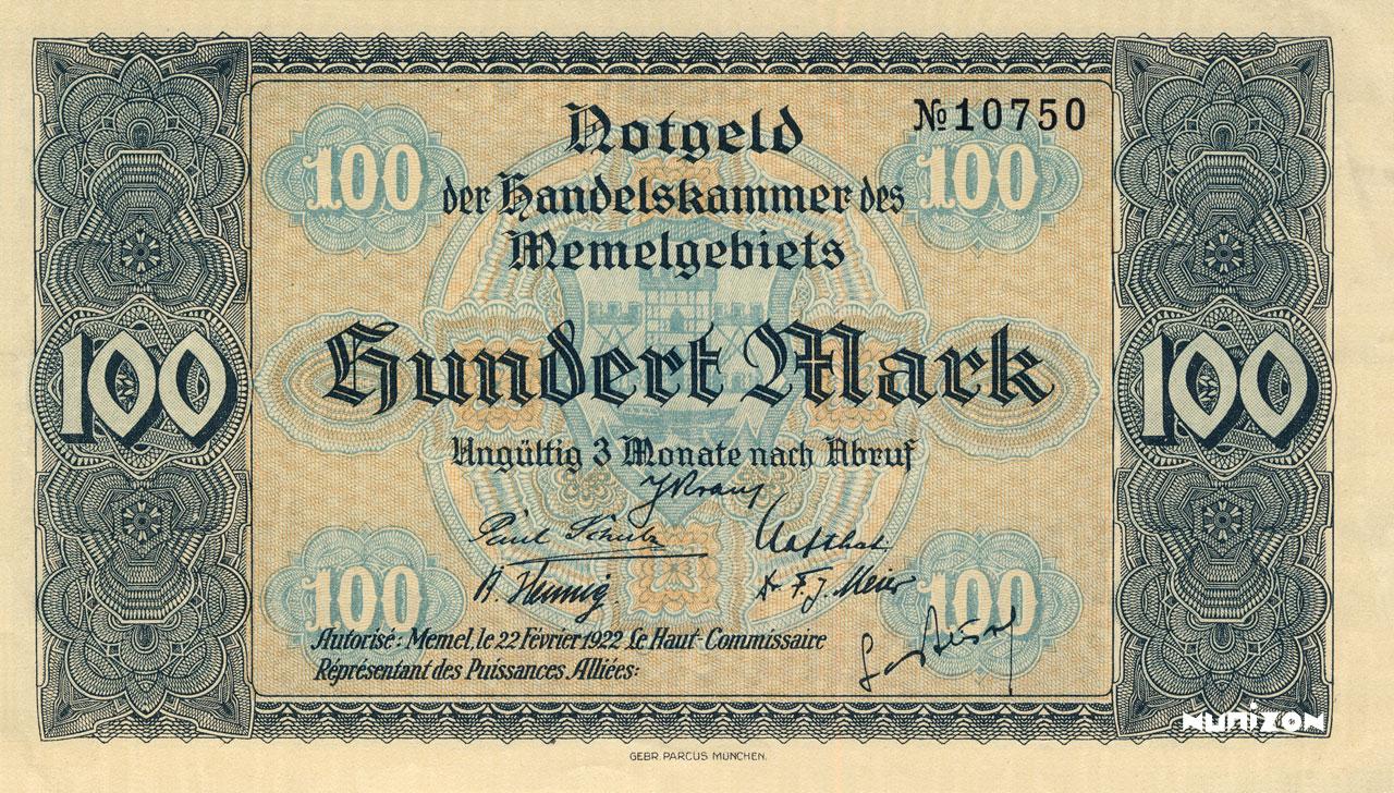 100 mark Memel 1922 Pick##09