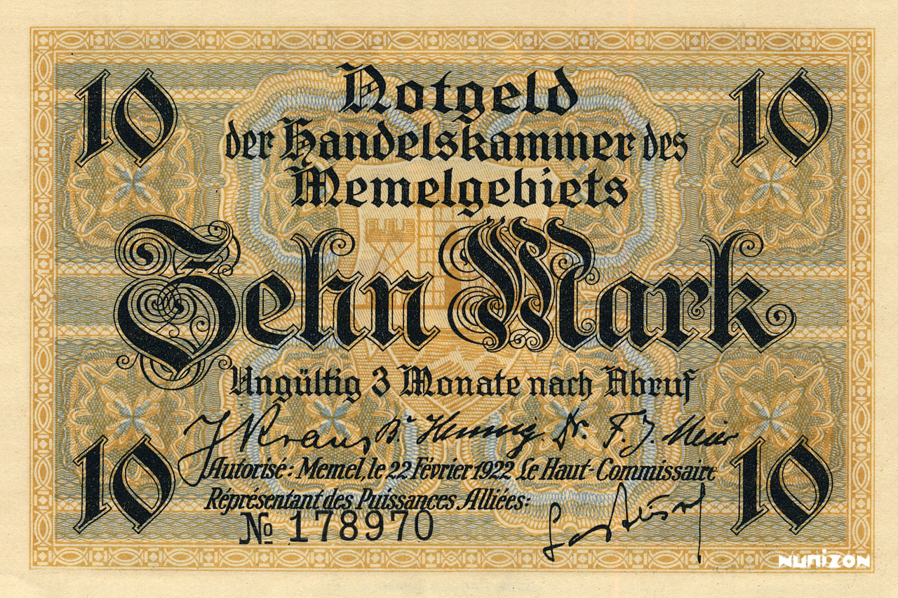 10 mark Memel 1922 Pick##05