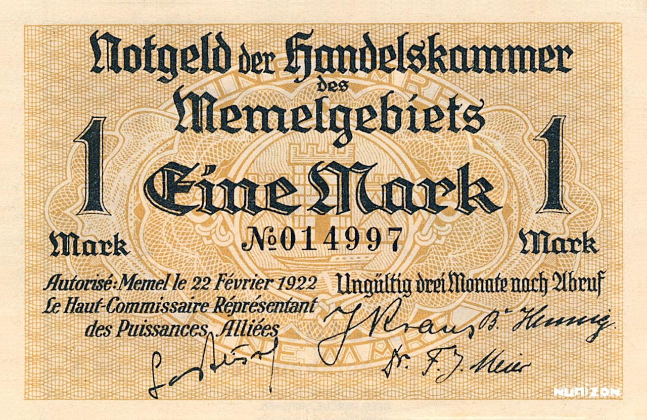 RECTO 1 mark Memel Type 1922
