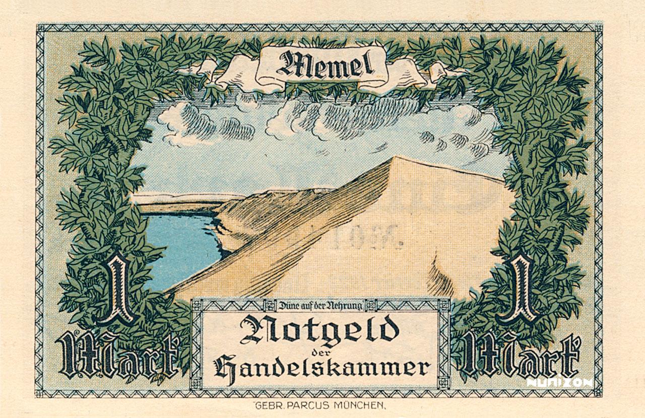 VERSO 1 mark Memel Type 1922