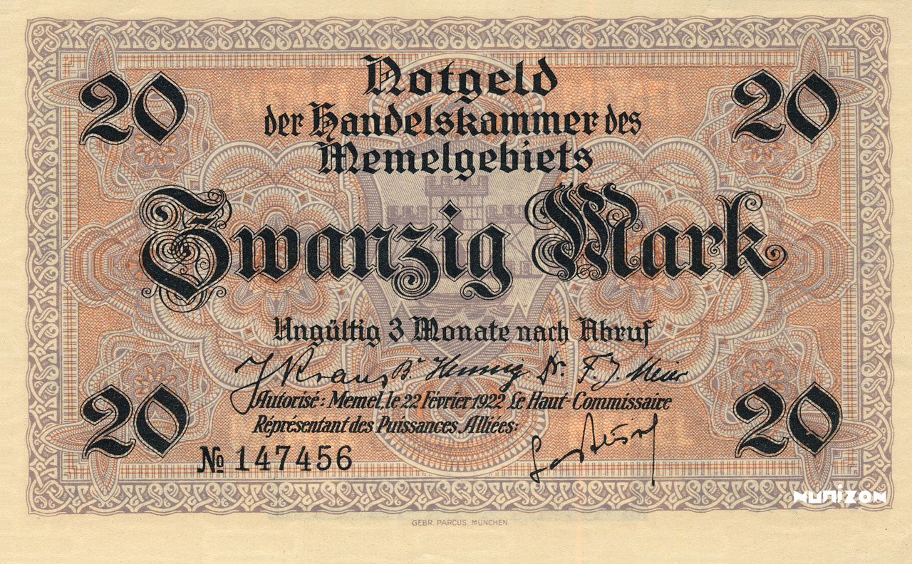 20 mark Memel 1922 Pick##06