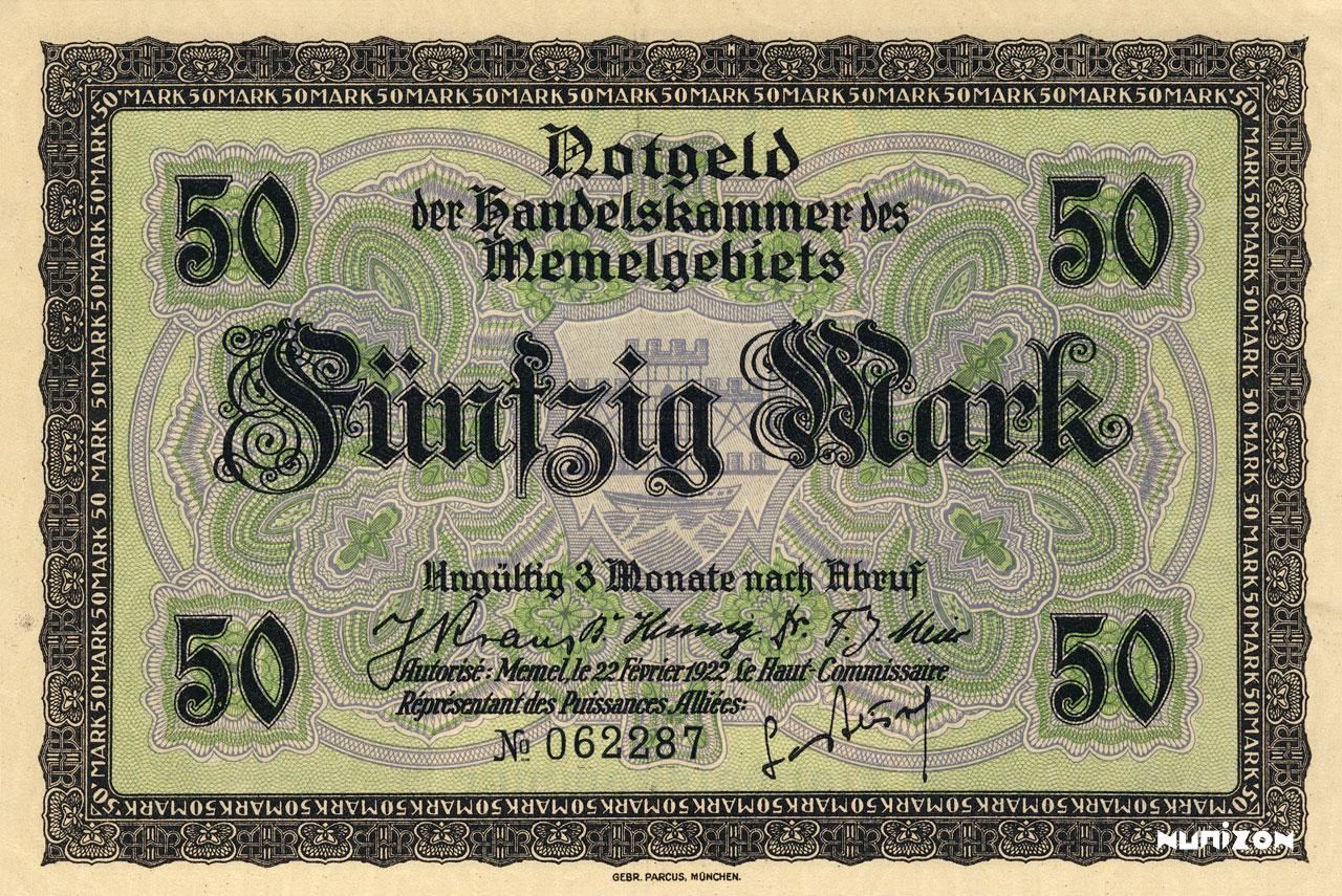 50 mark Memel 1922 Pick##07