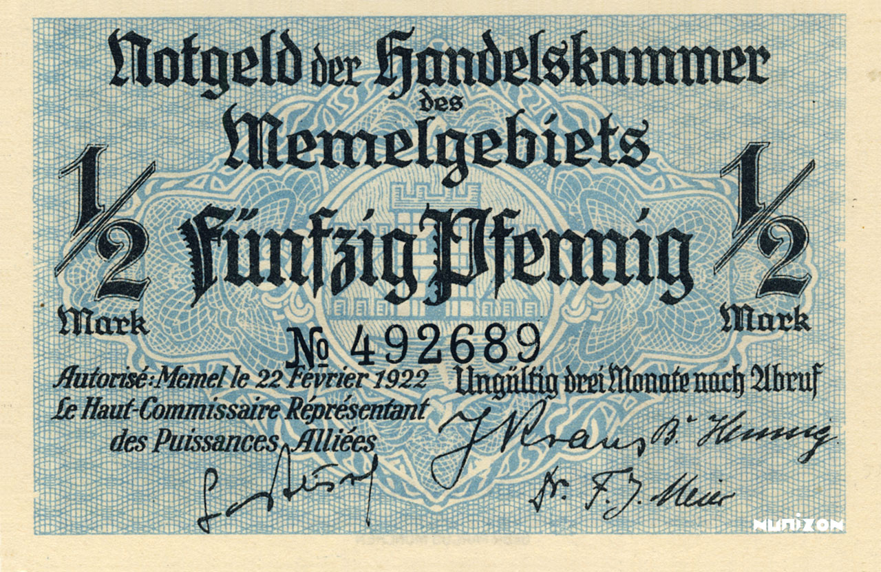 50 pfennig Memel 1922 Pick##01