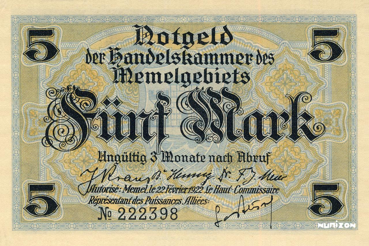 5 mark Memel 1922 Pick##04