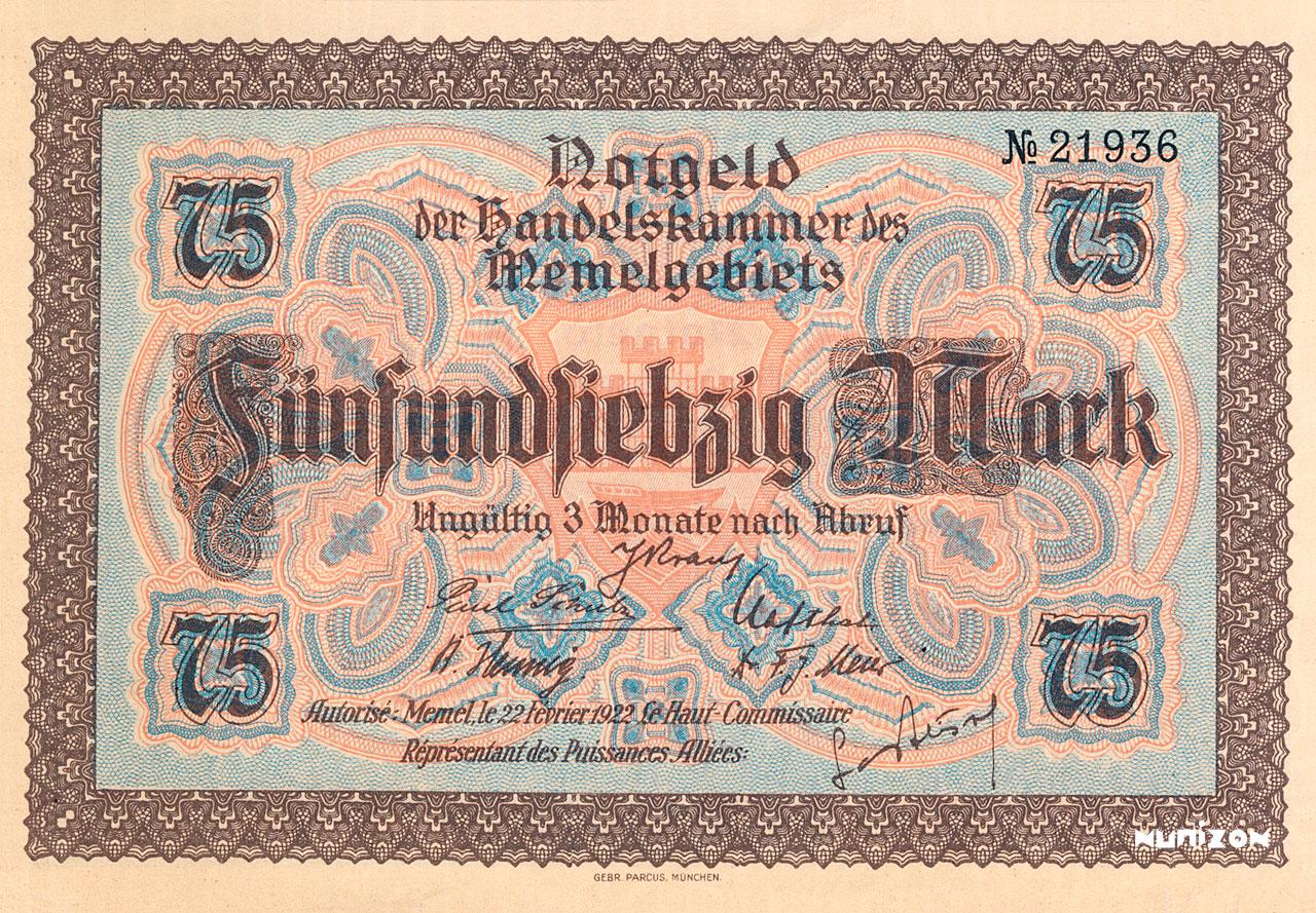 75 mark Memel 1922 Pick##08