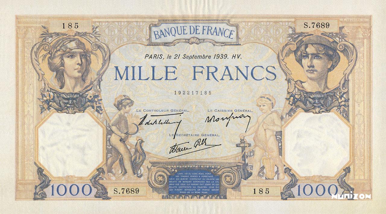 1000 francs - Cérès et Mercure Pick##79/#90