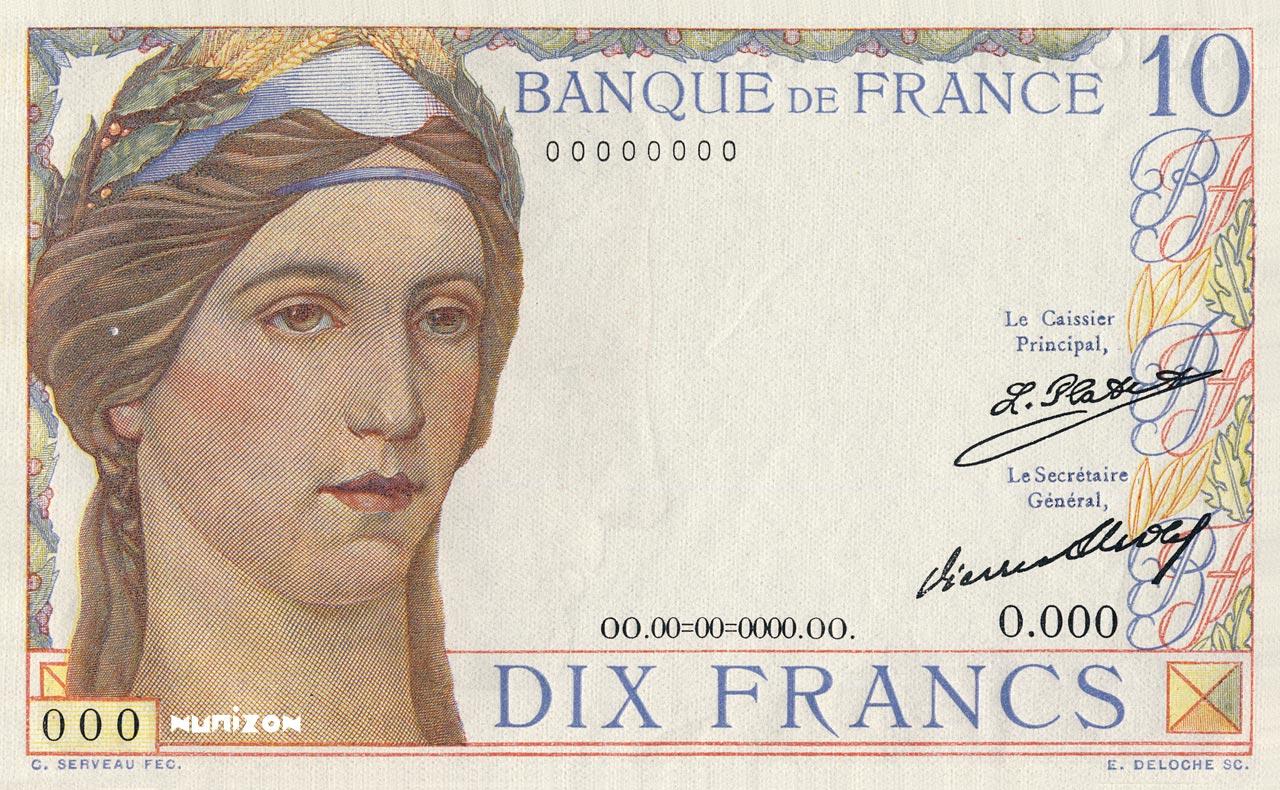 """10 francs Type 1932 Cérès et Mercure """"non émis"""" Pick#NA"""
