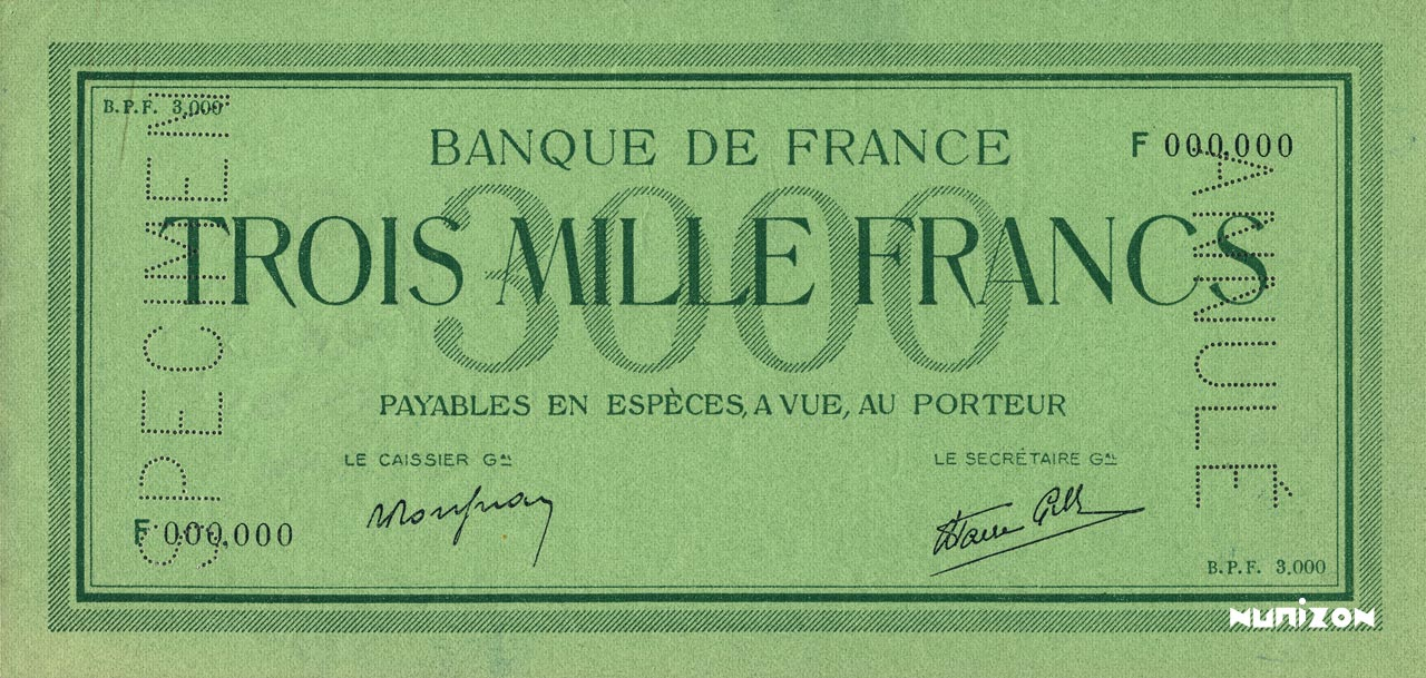 "3000 francs Type 1938 ""non émis"" Pick##104"