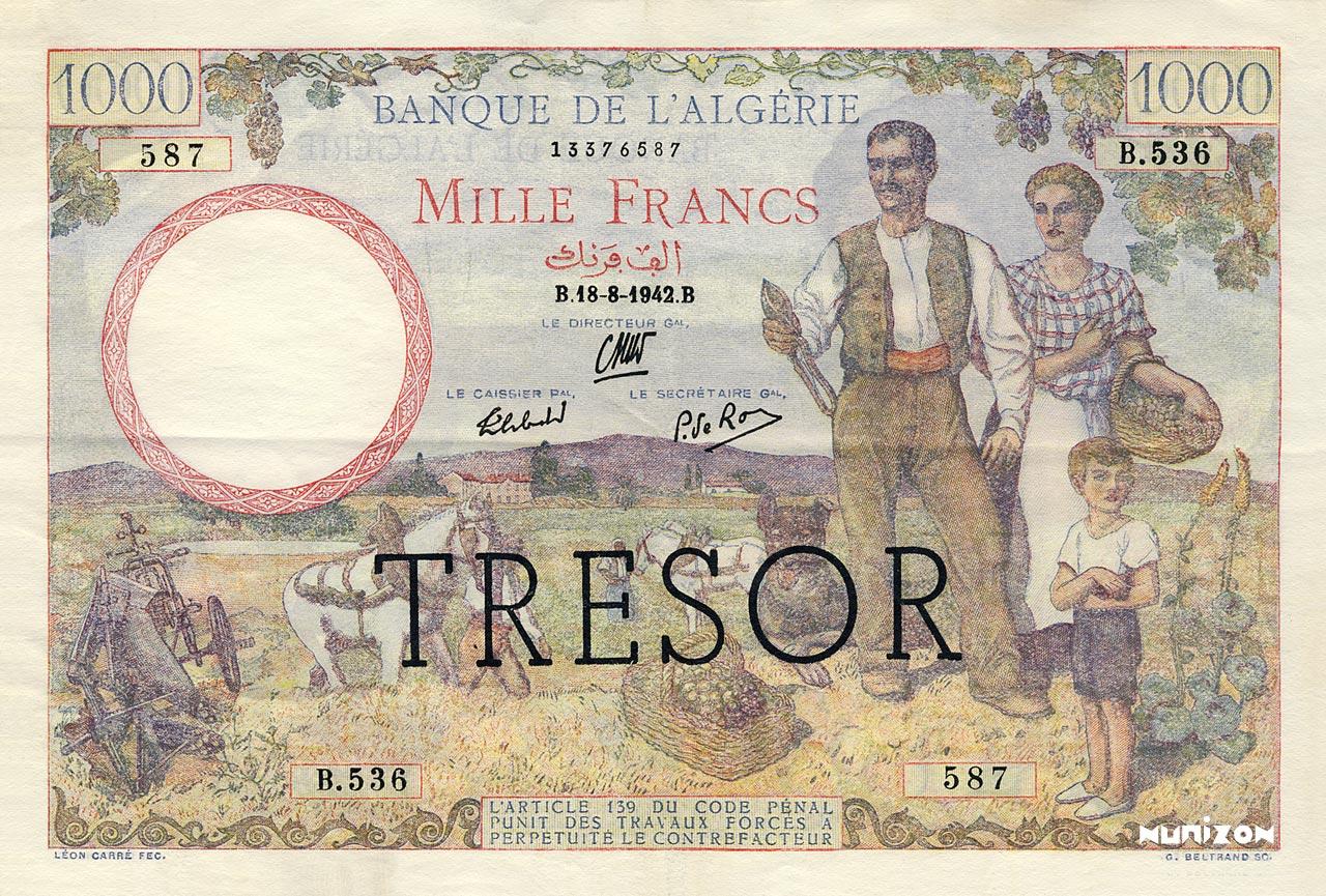 """1000 francs Algérie surchargé """"Trésor"""" 1943 Pick##112"""