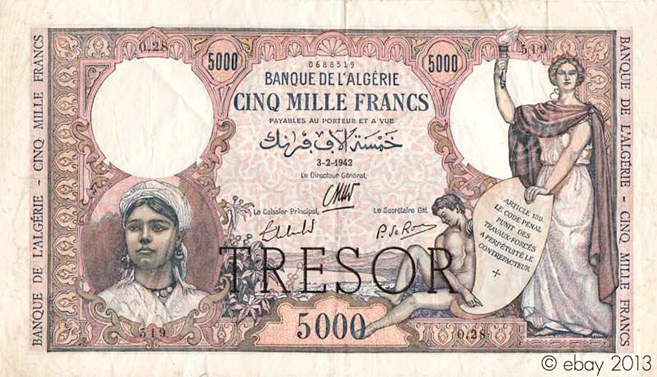 """5000 francs Algérie surchargé """"Trésor"""" 1943 Pick##113"""